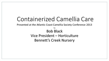 Containerized Camellia Care