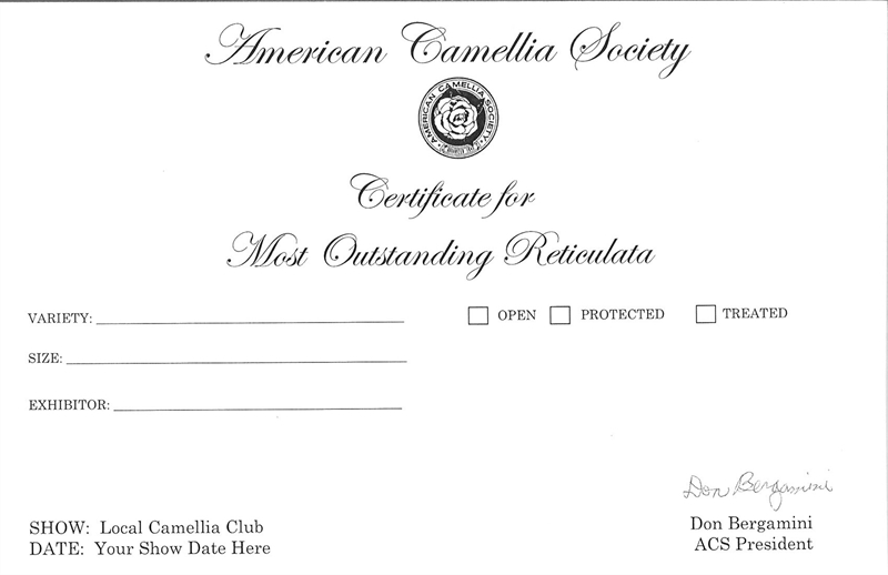 Reticulata Certificate