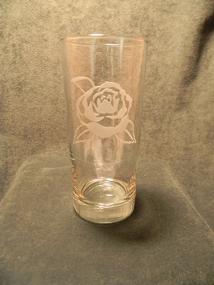 Camellia Etched  Ice Tea Glass
