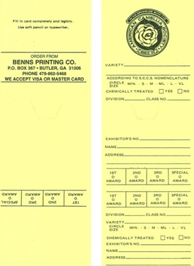 Official ACS Yellow (Retics and Hybrids w/Retic Parentage) Entry Cards (Pack of 100)