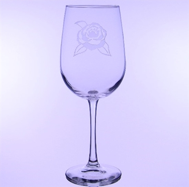 Camellia Etched All Purpose Wine Glass