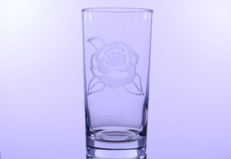 Camellia Etched Hiball Glass