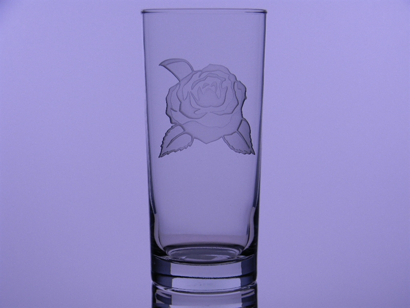 Camellia Solid-Etched Iced Tea Glass