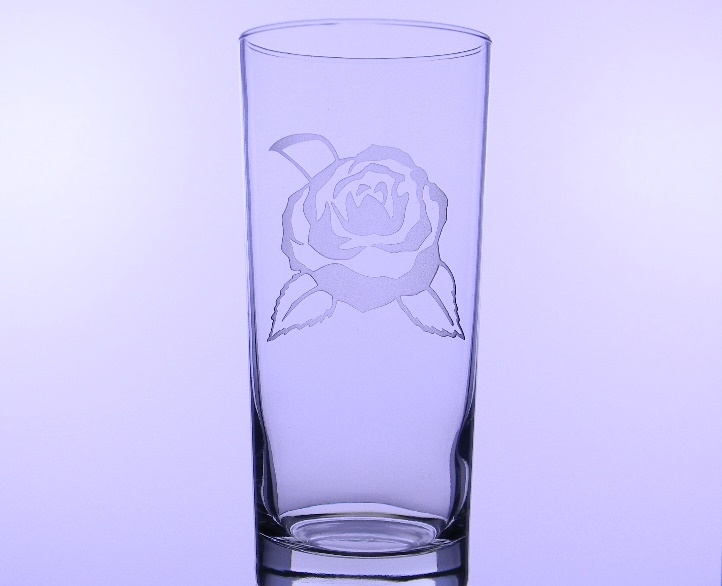 Camellia Etched Iced Tea Glass