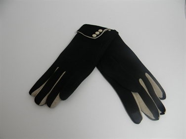 Black and Cream Gloves with Buttons