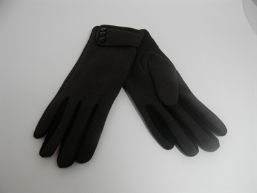 Brown and Black Gloves with Buttons