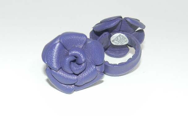 Purple Leather Flower Ring