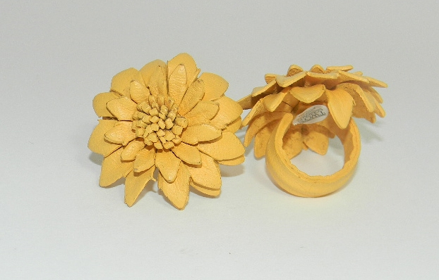 Yellow Leather Flower Ring