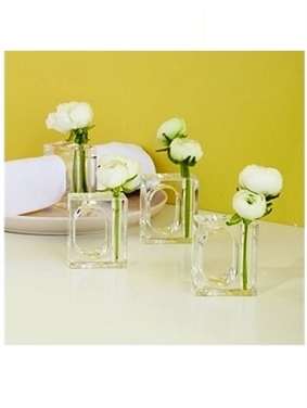 Acrylic Napkin Ring Flower Vase Set