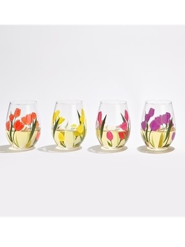 Yellow Tulip Wine Glass