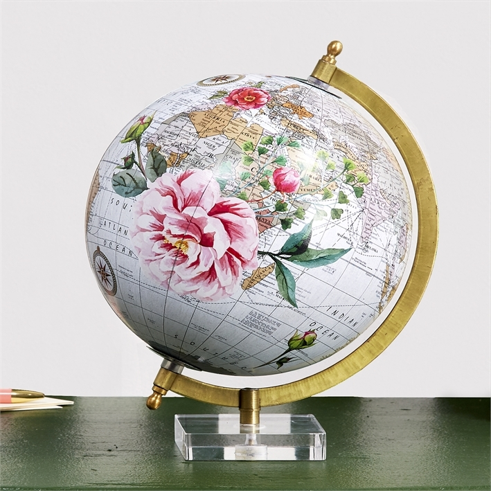 Camellia World Globe with Acrylic Base