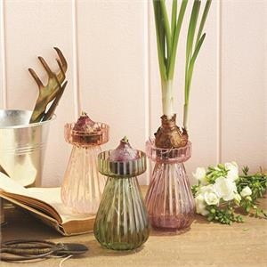 Green Hand-blown Glass Bulb Vase