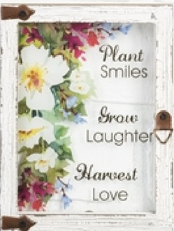 "Wall plaque ""Plant Smiles Grow Laughter Harvest Love"""