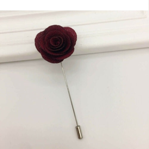 Deep Red Camellia Lapel Stick Pen