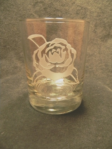 Camellia Etched High Ball Glass 14oz