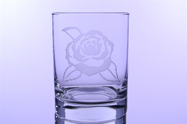 Camellia Etched Double Old Fashioned Glass