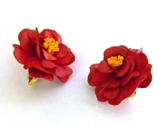 Red Japonica Earrings